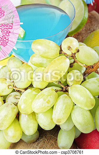 Grapes and blue cocktail - csp3708761