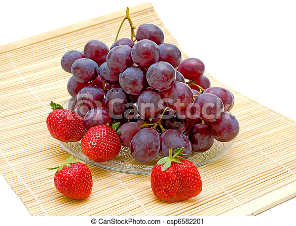 grapes and strawberries on a white background - csp6582201