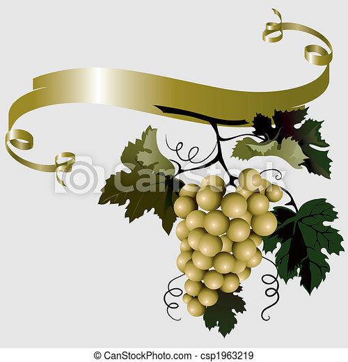 Grapes With Leaves And Ribbon - csp1963219