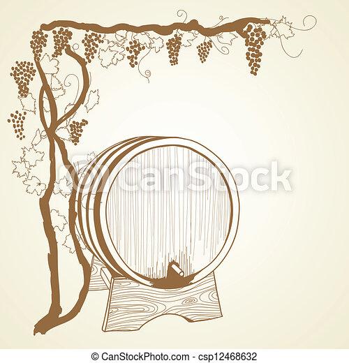 grapevine and barrel - csp12468632