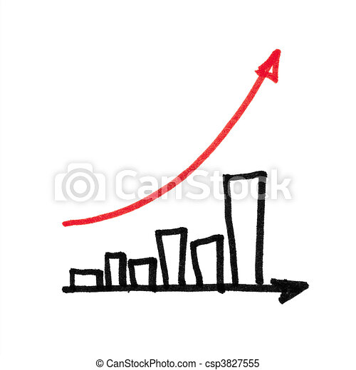graph., 화살, succesful, 빨강 - csp3827555