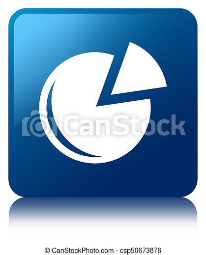 Graph icon blue square button - csp50673876