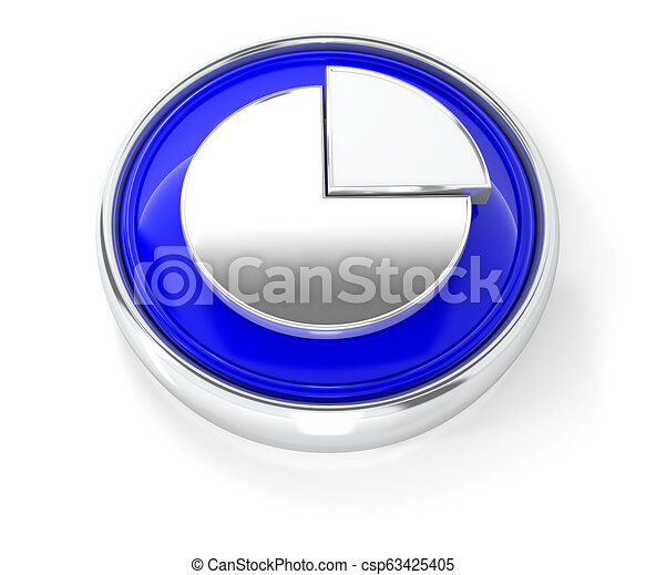 Graph icon on glossy blue round button - csp63425405