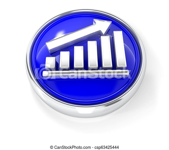 Graph icon on glossy blue round button - csp63425444