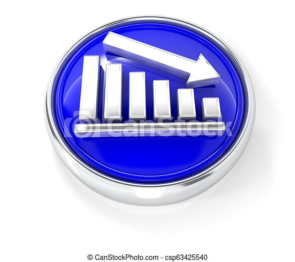 Graph icon on glossy blue round button - csp63425540