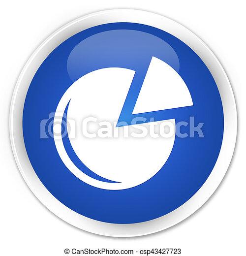 Graph icon premium blue round button - csp43427723
