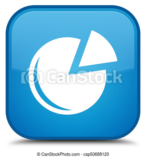 Graph icon special cyan blue square button - csp50688120