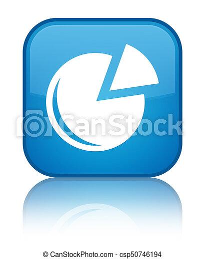 Graph icon special cyan blue square button - csp50746194