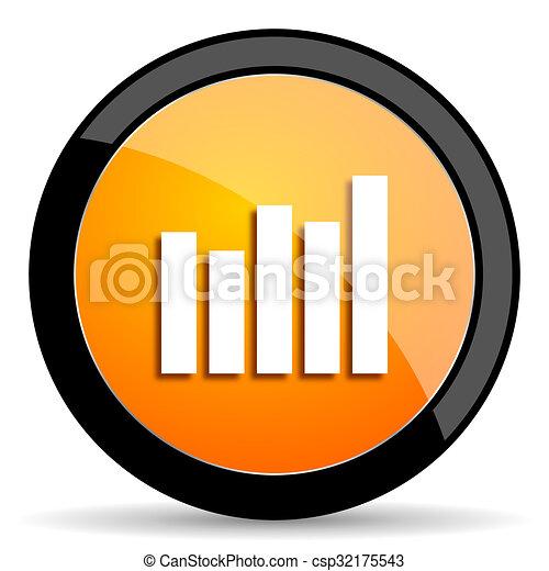 graph orange icon - csp32175543