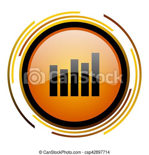 graph round design orange glossy web icon - csp42897714