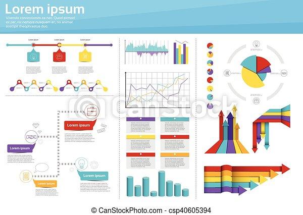 Graph Set Finance Diagram Infographic Icon Financial Business Chart - csp40605394