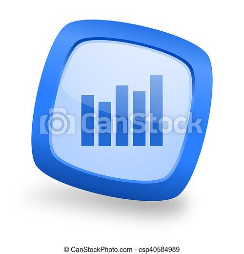 graph square glossy blue web design icon - csp40584989
