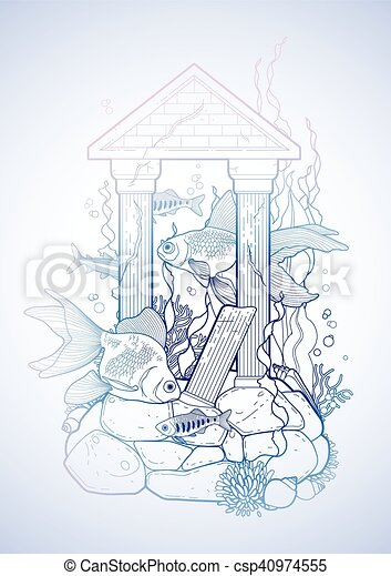 Graphic Aquarium Fish With Architectural Sculpture Drawn In Line Art