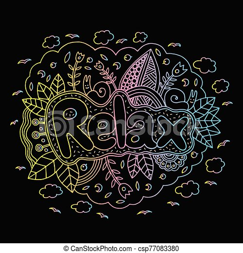 Graphic art with mandala and relax gradient word. Doodle letteri - csp77083380