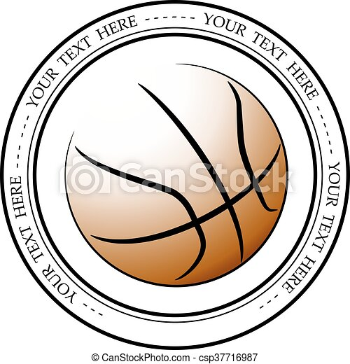 Graphic basketball logo. Vector isolated illustration of a basketball association or a sports event logo, sign, symbol. - csp37716987