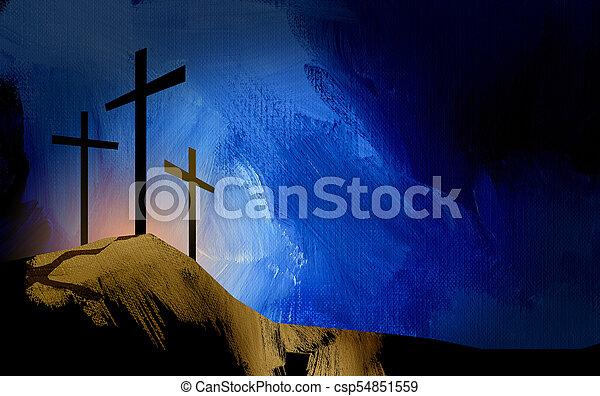 graphic christian crosses of jesus landscape graphic illustration