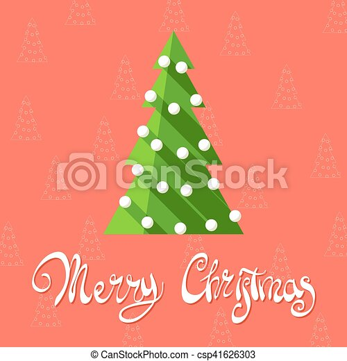 Graphic Christmas Tree Christmas Tree On A Red Background With The