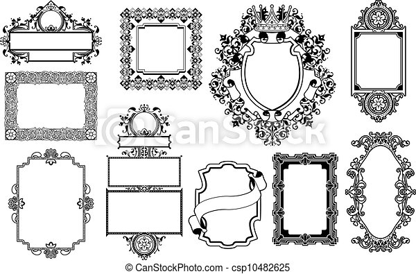 Graphic design decorative frames. A set of decorative frame graphic ...