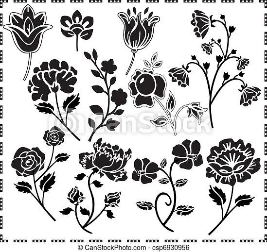 graphic design of flowers - csp6930956