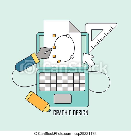 Graphic Design Tools In Thin Line Style