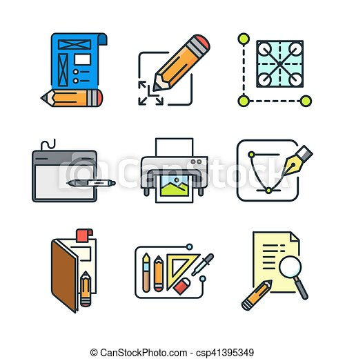 graphic designer icon set color