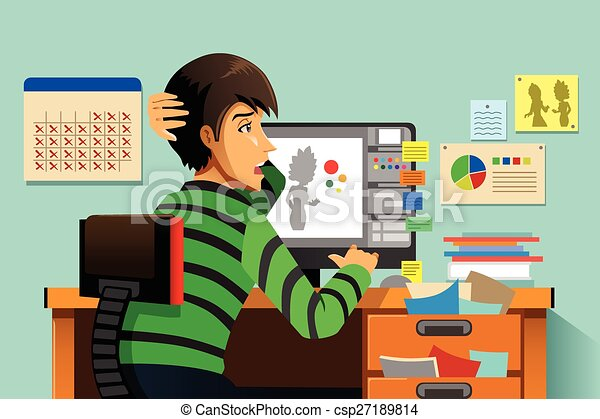 a vector illustration of a a graphic designer working on his rh canstockphoto ca graphic design clip art pack graphic design logo clipart