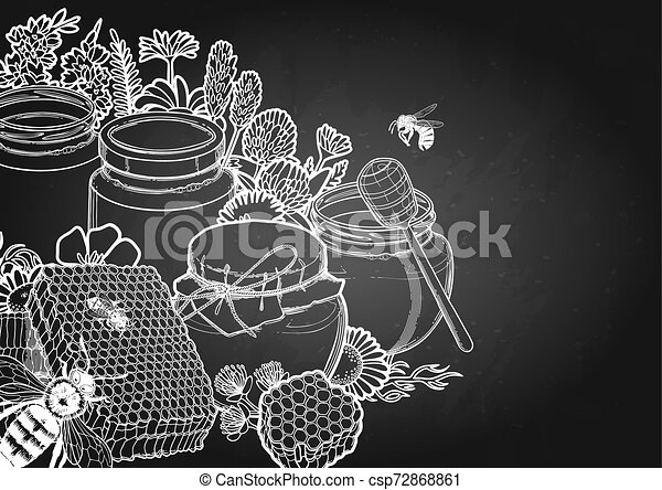 Graphic honey bottles surrounded by honeycombs, meadow flowers and bees - csp72868861