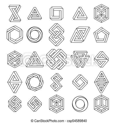 graphic impossible shapes circle square and triangle symbols with