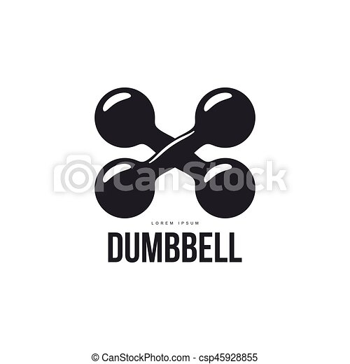 Graphic Logo Template With Two Crossing Iron Retro Style Dumbbells