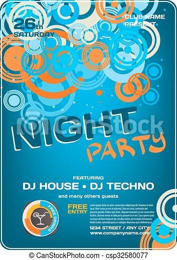 Graphic., nacht, disko, vektor, schablone, einladung, party ...