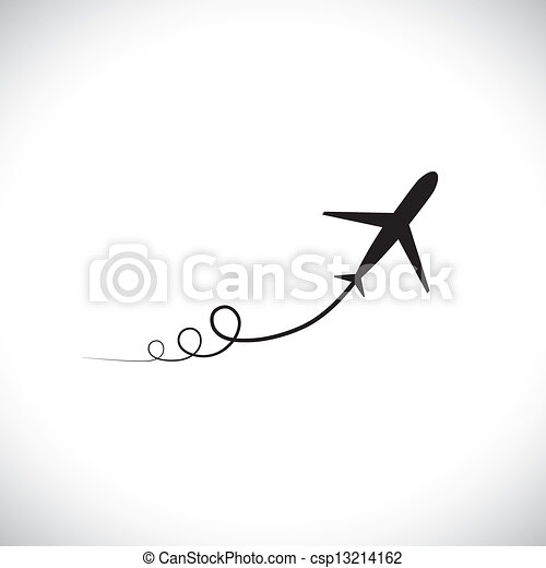 Graphic of airplane icon take off showing its path & speeding up. This illustration can also represent silhouette symbol of a military jet zoom in the sky with high speed - csp13214162