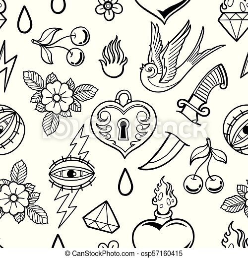 - Graphic Old School Collection. Graphic Collection Inspired By Old School  Tattoo Style. Vector Traditional Design. Coloring