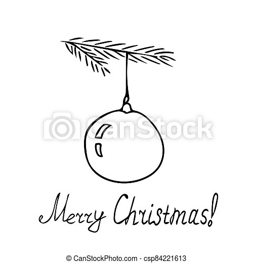 graphic on the theme of christmas and new year - hand drawn silhouettes - csp84221613