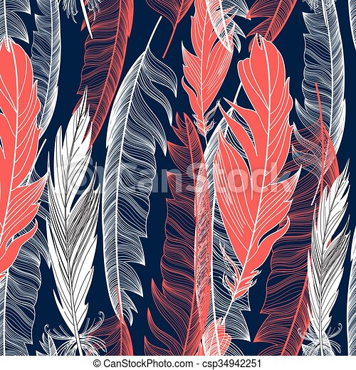 graphic pattern of feathers - csp34942251