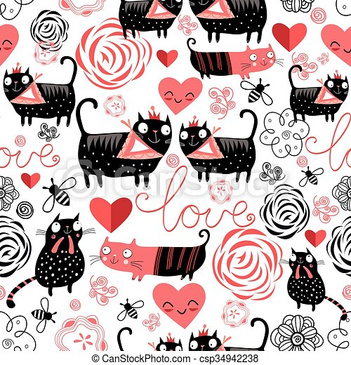 Graphic pattern of funny cats lovers - csp34942238