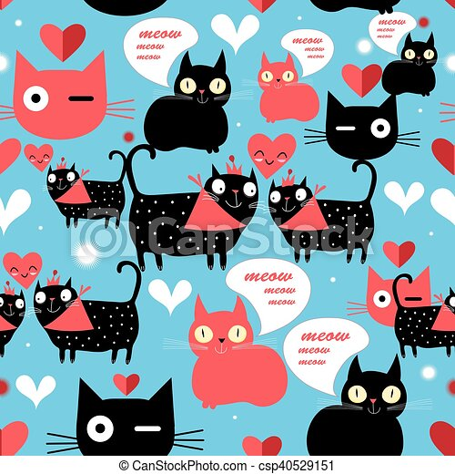Graphic pattern with lovers cats - csp40529151