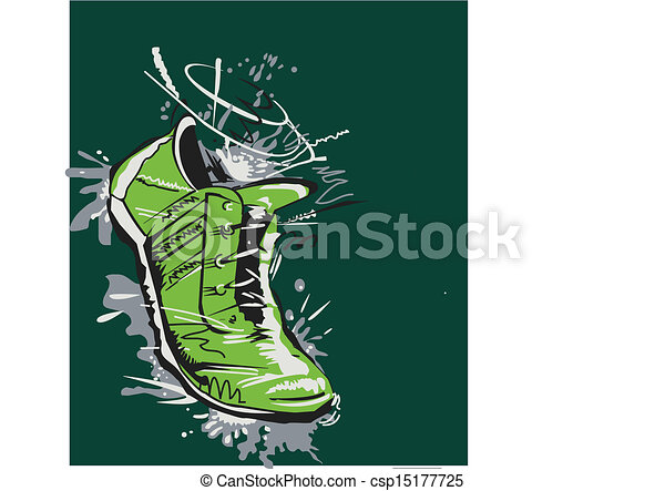 Line Drawing Vector Graphics : Graphic running shoe vector. great hand drawing of
