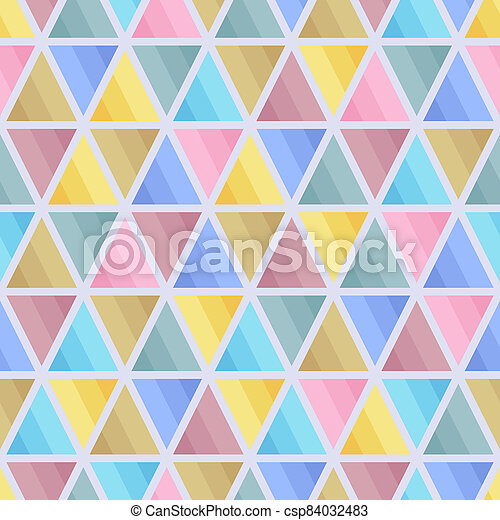 Graphic Seamless Pattern of Triangular Geometric Elements of Blue, Brown, Pink, Yellow, Grey Pastel Colors. - csp84032483