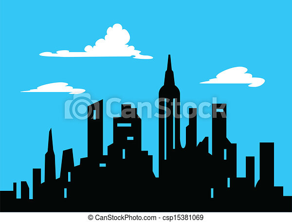 Graphic Style Cartoon City Skyline - csp15381069