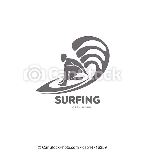 Graphic surfing logo template with surfer, surfboard and... clipart ...