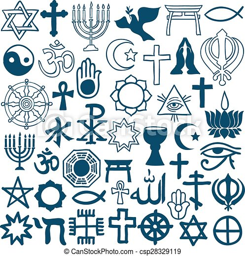Graphic Symbols Of Different Religions On White Blue Graphic