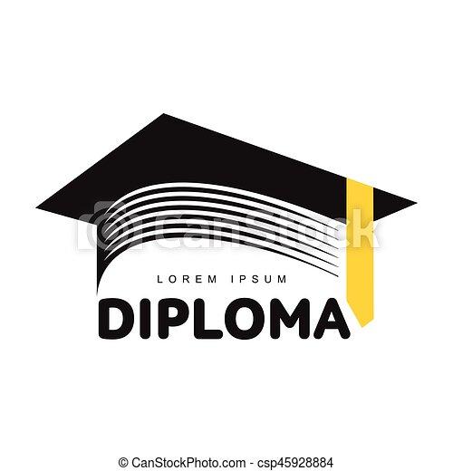 graphic three colored square academic graduation cap logo template rh canstockphoto com graduation hat logo png graduation cap logo free