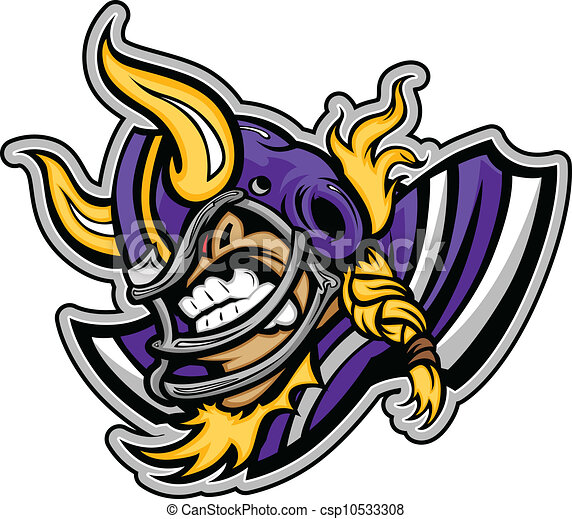 Graphic Vector lmage of a Viking Football Mascot with Horns on Football Helmet - csp10533308