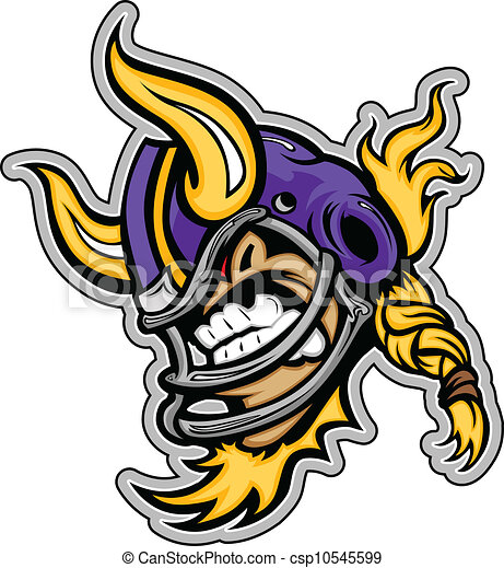 Graphic Vector Sports lmage of a  Snarling American Football Viking Mascot with Horns on Football Helmet - csp10545599