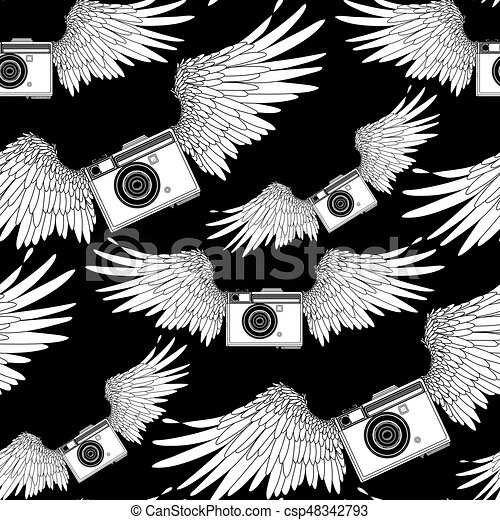 Graphic Vintage Camera With Two Wings Vector Seamless Pattern Coloring Book Page Design For Adults And Kids