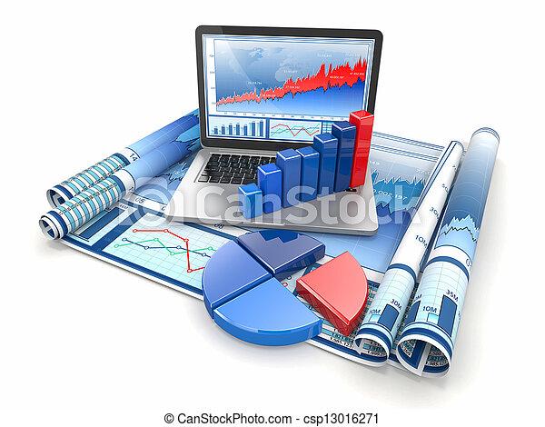graphique, analyze., diagram., business, ordinateur portable - csp13016271