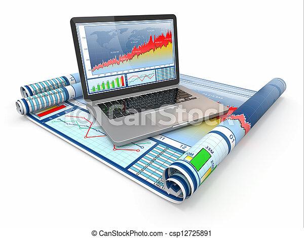 graphique, analyze., diagram., business, ordinateur portable - csp12725891