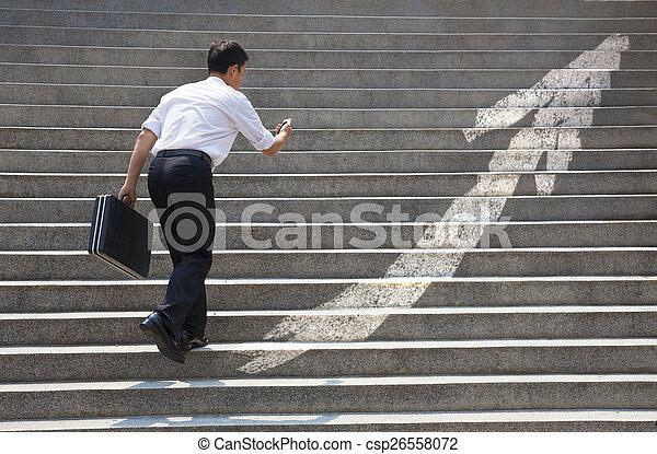 graphique, concept, business, escalier, homme affaires - csp26558072