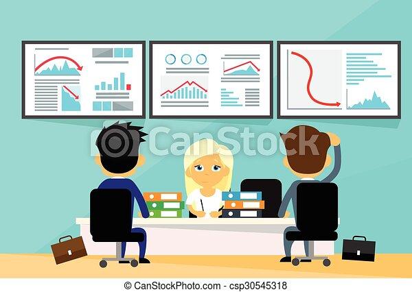 graphique, gens, finance, tendance, commerçants, business, financier, bas, crise, ordinateurs, bureau, automne, négatif, bureau - csp30545318