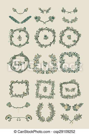 graphique, grand, mettez stylique, éléments floraux - csp29109252